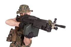 US MARINES with M249 machine gun Royalty Free Stock Photo