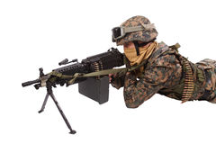 US MARINES with M249 machine gun Royalty Free Stock Photography