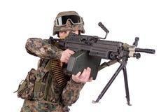US MARINES with M249 machine gun Royalty Free Stock Photos