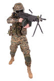 US MARINES with M249 machine gun Royalty Free Stock Image