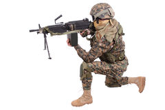 US MARINES with M249 machine gun Stock Photo