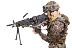 US MARINES with M249 machine gun Stock Photography