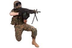 US MARINES with machine gun Stock Images