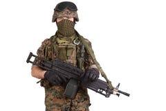 US MARINES with machine gun Royalty Free Stock Image