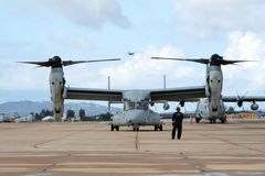 US Marines Osprey plane Stock Photo