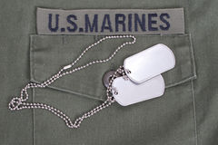 Us marines uniform with blank dog tags Royalty Free Stock Photography