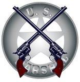 US-Marschall Guns und Ausweis Lizenzfreie Stockfotos