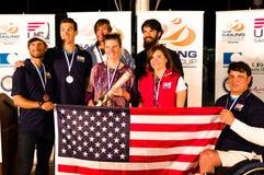US-Medaillengewinner am ISAF, das Weltcup in Miami segelt. Stockbilder
