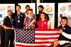 US medalists at the ISAF Sailing World Cup in Miami. Miami, USA, February 1, 2014 - US medalists at the ISAF Sailing World Cup in Miami.  L-to-R:  Stu McNay ( Stock Images