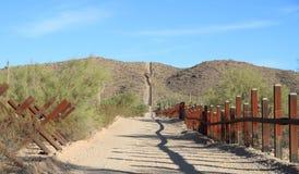 US - Mexican Border In Sonoran Desert Royalty Free Stock Photos