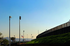 US-MEXICO Border Wall. A part of border wall between San Diego of America and Tijuana of Mexico Royalty Free Stock Photos