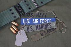US-Militärkonzept auf Olivgrünuniform Lizenzfreies Stockfoto