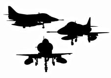 US military aircraft silhouettes Royalty Free Stock Image