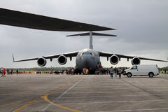 US military cargo plane. C-5 Galaxy cargo US Air Force airplane in exhibition, outdoors, natural light, overcast skies. Homestead Air Force Base, Florida stock photo