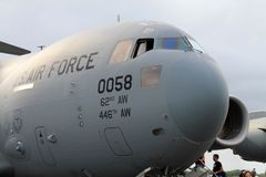 US military cargo plane in Florida royalty free stock image