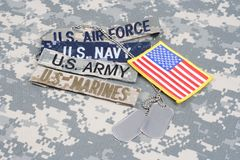 US MILITARY concept with branch tapes and dog tags on camouflage uniform royalty free stock images
