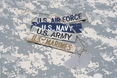 US MILITARY concept with branch tapes and dog tags on camouflage uniform. Background Royalty Free Stock Image