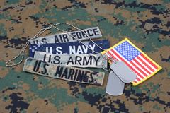 US MILITARY concept with branch tapes and dog tags on camouflage uniform. Background royalty free stock images