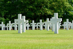 US Military graves at World War Two cemetery Royalty Free Stock Images