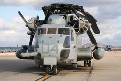 US military helicopter. Heavy US military CH-53 Super Stallion transport helicopter on an American airbase Royalty Free Stock Images