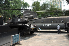 US Military helicopter and tank exposed in the War Remnants Muse Stock Image