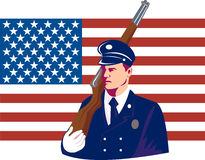 US military serviceman with flag. Vector illustration of a US military serviceman marching on Memorial Day with rifle and flag in the background Royalty Free Stock Image