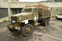 US Military truck. An old GMC CCKW cargo truck in cmouflage painting of the US army. This 6x6 2,5 ton lorry knew worldwide diffusion thanks to his robustness and Royalty Free Stock Photo