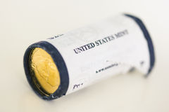 US mint roll of presidential dollar coins Stock Images