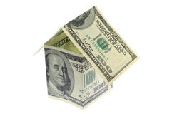 US moeny house. US money house in isolated white background royalty free stock images
