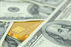 US money and credit card Royalty Free Stock Photos