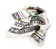 Crimped Cash. A 100 US$ money note  on white background, very shallow depth of field Royalty Free Stock Photography