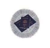 US money with US Passports Stock Image