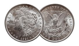 US Morgan Silver Dollar coin minted 1921, isolated on white background royalty free stock photo