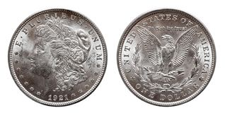 US Morgan Silver Dollar coin minted 1921, isolated on white. US Morgan Silver Dollar coin minted 1921, conservation mint royalty free stock photography
