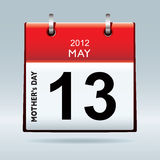 US mothers day 2012. United states and canada mothers day for 2012 on calendar Stock Images