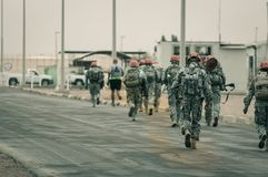US Multinational Force and Observers MFO Marching. In Sharm Al Sheikh, Egypt January 28, 2013 Stock Photos