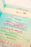 US multiple entry visa. A visa issued in Edinburgh for multiple entries into the United States in connection  with business Royalty Free Stock Image