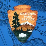 US national park service sign in Boston, USA stock image