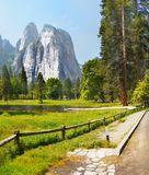 US National Parks, Yosemite National Park, California. Remarkable granite cliffs and waterfalls in mountain landscape - Yosemite National Park, California. US stock image