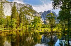 US National Parks, Yosemite National Park, California. Remarkable granite cliffs and waterfalls in mountain landscape - Yosemite National Park, California. US royalty free stock photography