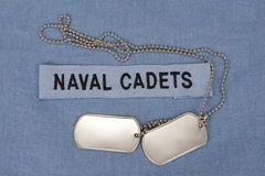 Us naval cadets uniform with blank dog tags Stock Photo
