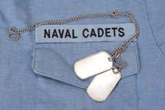 Us naval cadets uniform with dog tags Royalty Free Stock Photo