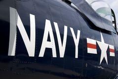 US Navy. Markings on the side of a restored vintage aircraft stock photo