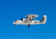US navy aircraft in flight Stock Images