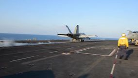 US Navy Aircraft Start Flighdeck Carrier stock video