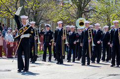 Us Navy band marching Royalty Free Stock Images