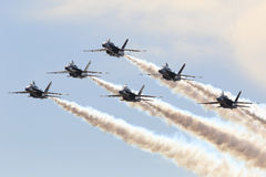 US Navy Blue Angel formation flying Stock Photo