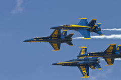US Navy Blue Angels. U.S. Navy Blue Angels demonstrate flight techniques and formations Royalty Free Stock Photos