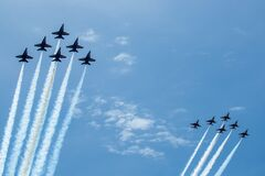 US Navy Blue Angels and US Air Force Thunderbirds Fly Over the National Mall, Washington DC, USA