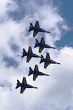 US Navy Blue Angels F-18 Hornet planes perform in air show during Fleet Week 2014 Royalty Free Stock Photography